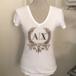 A/X Embroidered logo V-neck tee